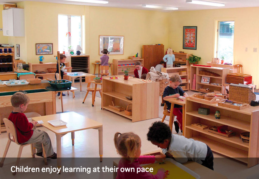 Children enjoy learning at their own pace in a cottage at Montessori School of Syracuse