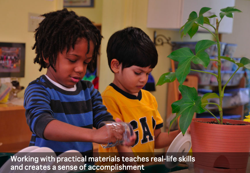 Working with practical materials teaches real-life skills at Montessori School of Syracuse