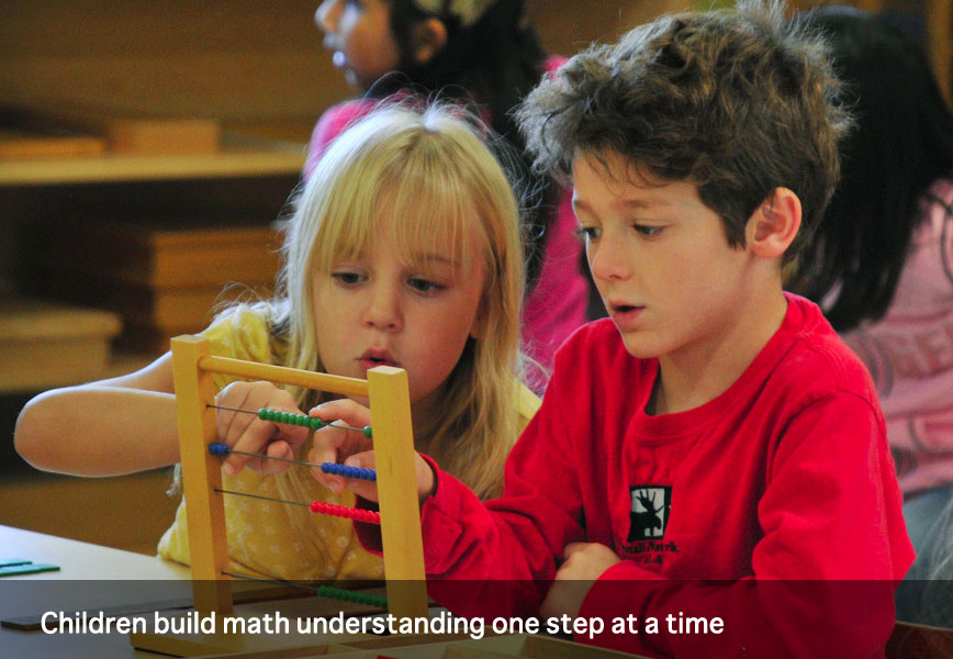 Children build math understanding one step at a time at Montessori School of Syracuse